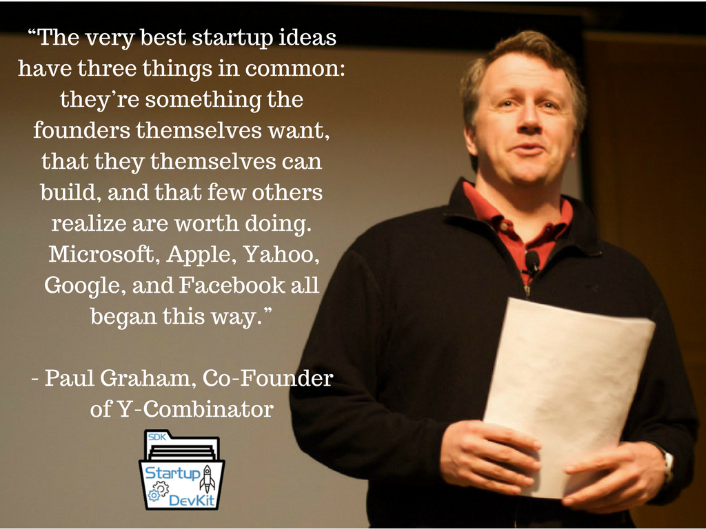 Paul Graham Quote for how to build a minimum viable product post - the very best startup ideas have three things in common