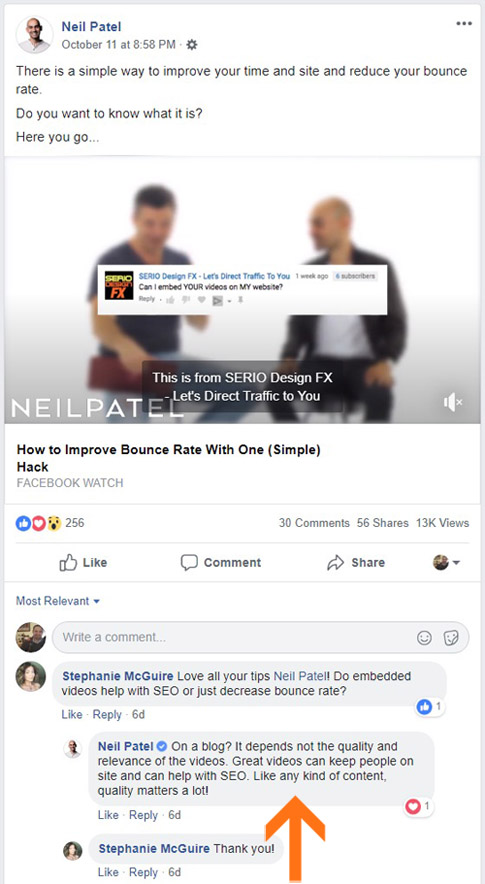 Replying to comments on facebook posts - engagement on FB