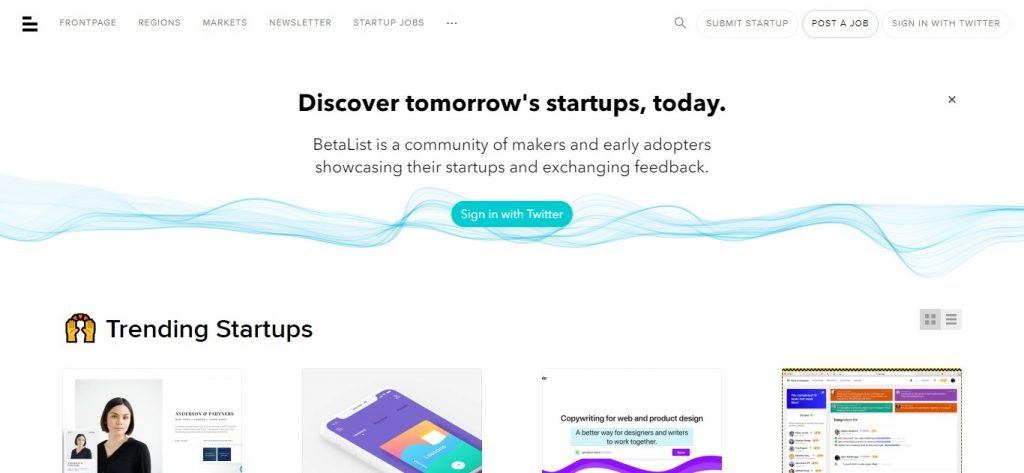 Betalist - Discover and get early access to tomorrow's startups - home page. Desktop and mobile app beta testing sites