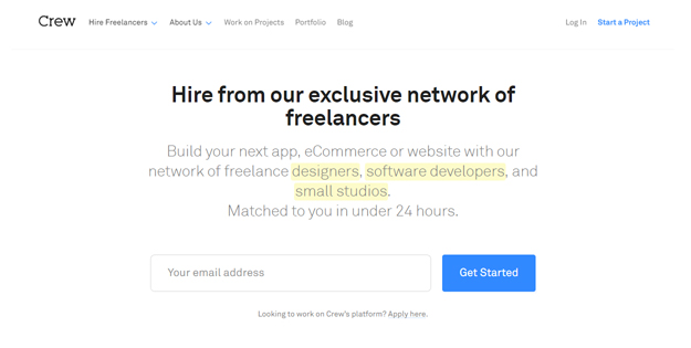 Crew freelance designer developer website marketplace