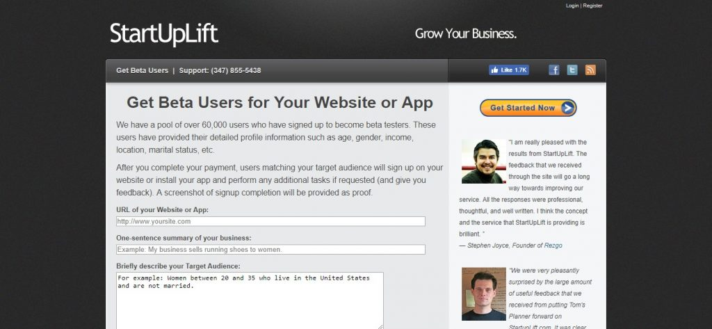 StartUpLift - Beta Users page for beta testing desktop programs or apps. Desktop and mobile app beta testing sites