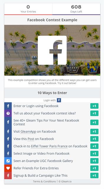 Gleam viral marketing contest example