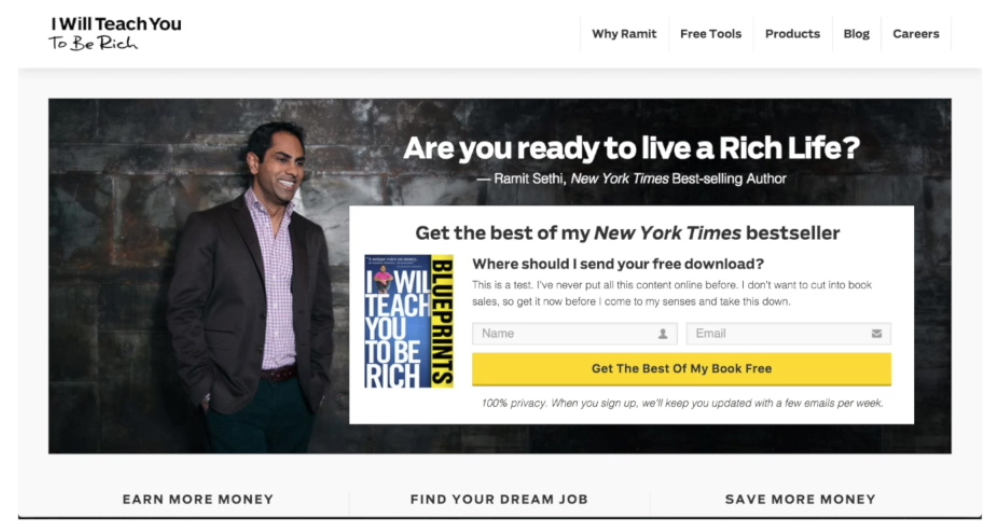 Lead magnet example ramit sethi - lead generation strategies
