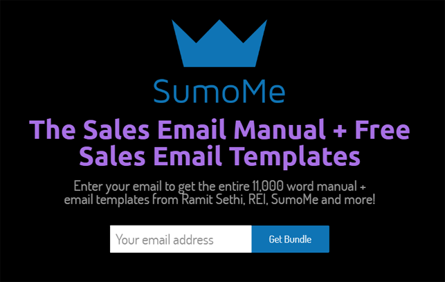 Lead generation strategy - content upgrade example from Sumo of o - The Sales Email Manual