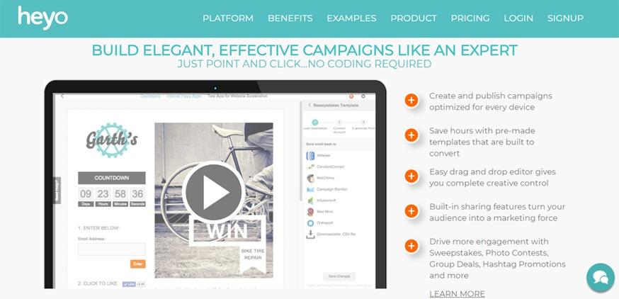 Heyo screenshot - viral marketing contest platform - StartupDevKit