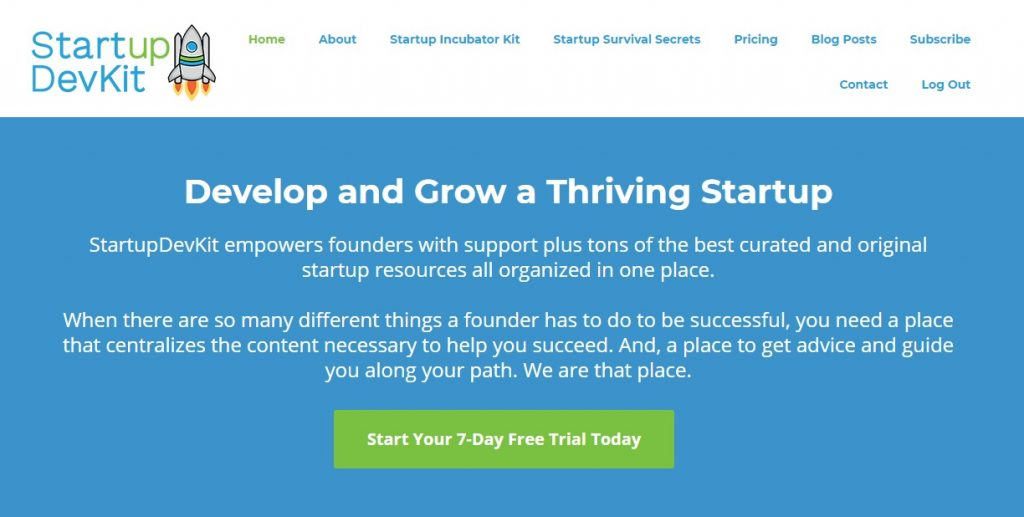 StartupDevKit - Free Trial Example on main page for lead generation strategies