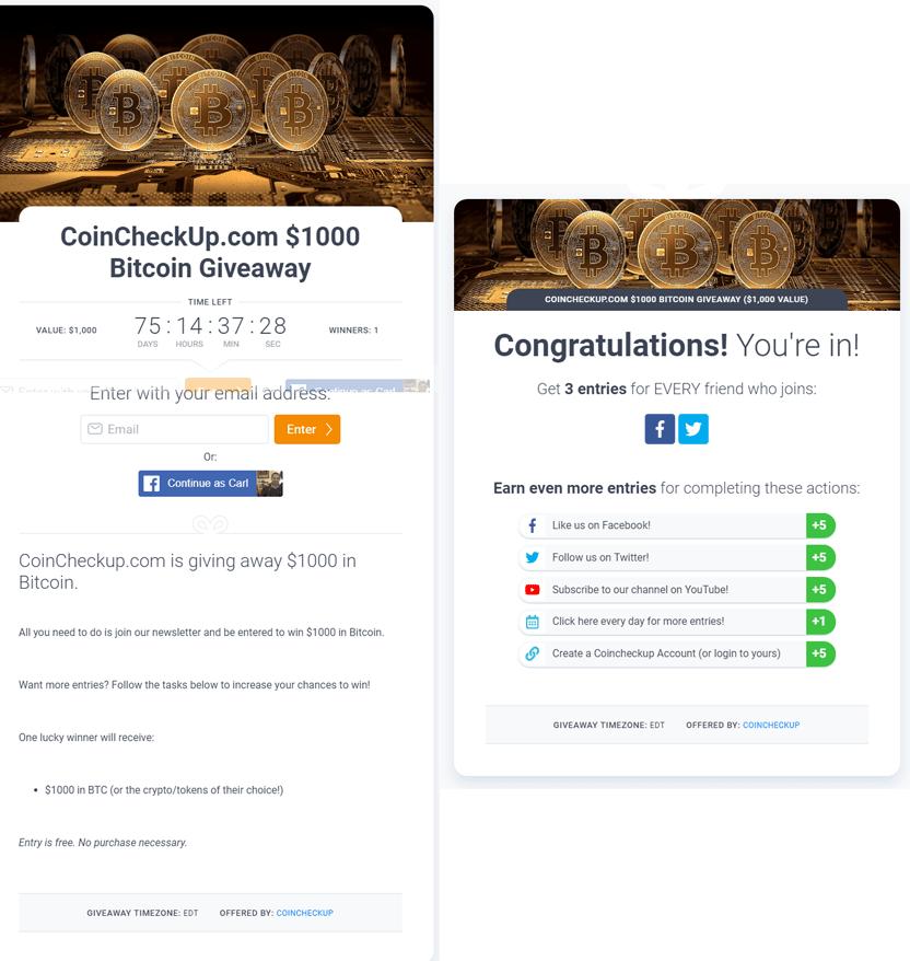 KingSumo Viral Marketing Campaign Example CoinCheckUp