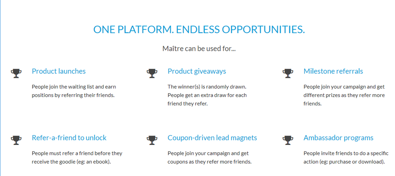 Maitre viral campaign software features