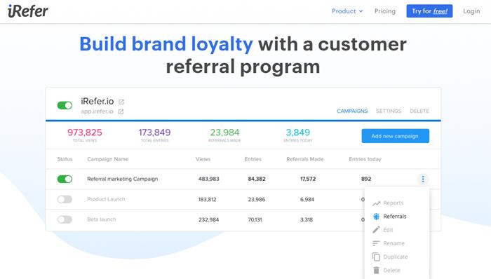 iRefer viral platform marketing software example