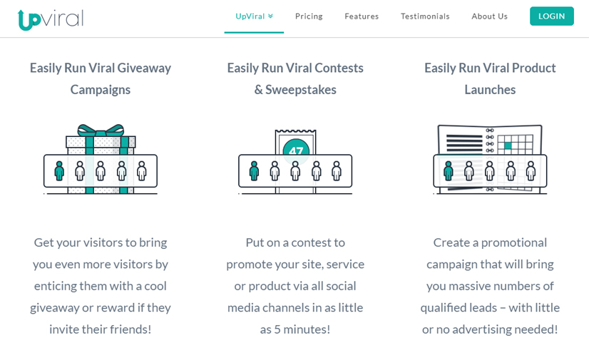 upviral screenshot - viral marketing software - StartupDevKit