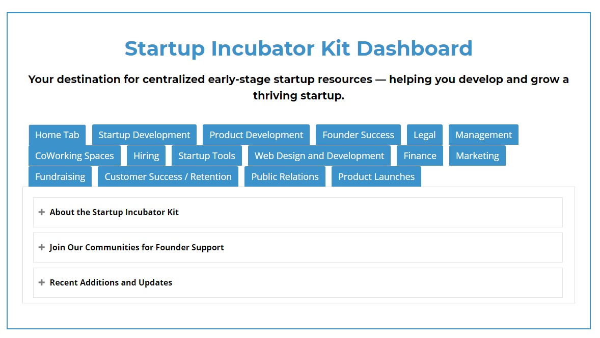 StartupDevKit Startup Incubator Kit Dashboard Screenshot