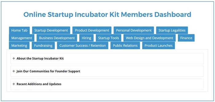online/virtual startup incubator kit