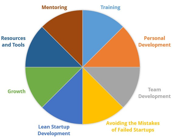 StartupDevKit's 360-degree approach to growing startups: mentoring, training, personal development, team development, avoiding the mistakes of failed startups, lean startup development, growth, and resources and tools