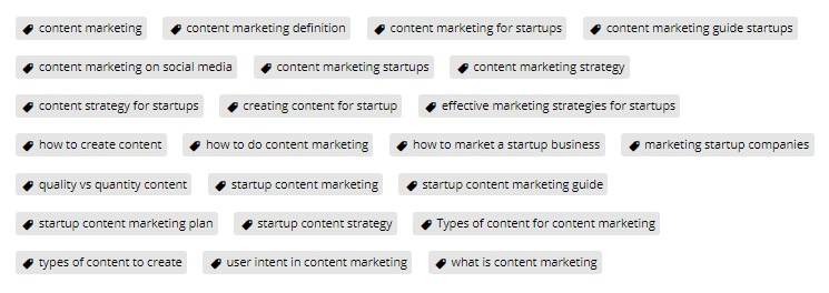 Startup content marketing post tags for SEO