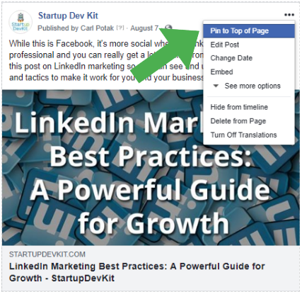 Pin facebook post to top of page - part of facebook marketing strategies post for startups
