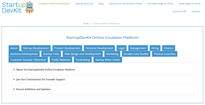 StartupDevKit Online Startup Incubator Platform Screenshot